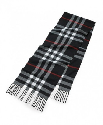 Cashmere Feel Weather Elegant Clara Clark - Black/White Plaid With Red Accent - CK185O763NI