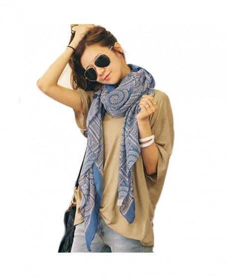 Yoyorule Women Long Soft Printed Scarves Shawl Wrap Scarf - Blue - CI12BCQLN3P