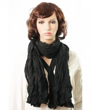 Kuldip Crushed Effect Pashmina Style Scarf Shawl Wrap Throw. - 915P05 Black - CJ11CJ5FMDB