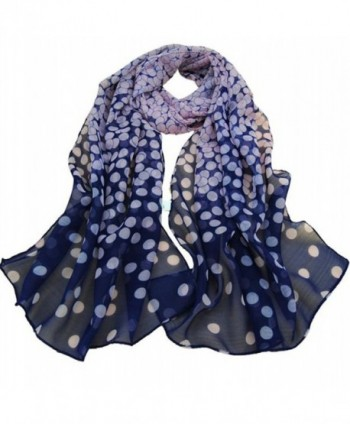 HN Women Dot Long Soft Wrap Lady Shawl Silk Chiffon Scarf - Navy - CS12O3L3ZY0