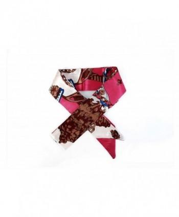 Lady Girls Bag Twilly Handbag Handle Ribbon Scarf Silk Band Fashion Hair Head Band - Pink - CS12O1LU4RR
