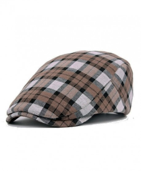 ZLS ZLSLZ Men's Unisex newsboy Hat Cotton Flat Plaid IVY Irish Cabbie Caps - Khaki - CS186GU7ZEE