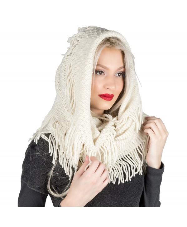 Aerusi Women's Soft Infinity Knitted Winter Scarf - Cream - CI12BC6QQY1
