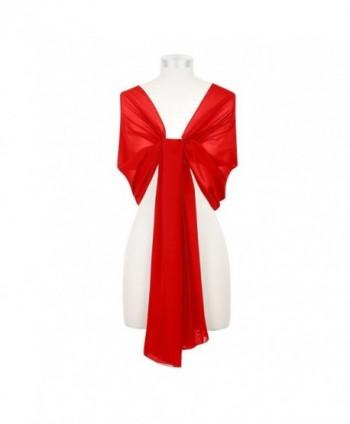 Kewl Fashion Women's Soft Chiffon Bridal Evening Shawl and Wraps - Red - CG12DKAQSG7