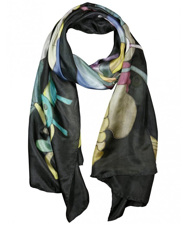 Invisible World Women's 100% Silk Hand Painted Scarf Lotus Flowers on Black - CB11L7QIPD7