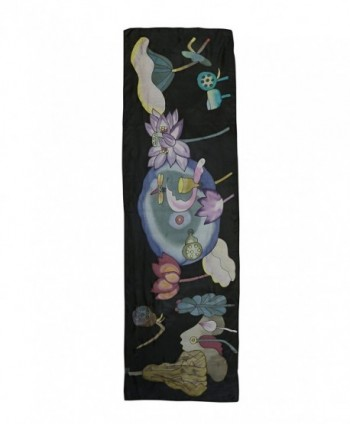 Invisible World Womens Painted Flowers in Fashion Scarves