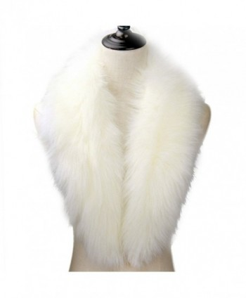 Dikoaina Extra Large Women's Faux Fur Collar for Winter Coat - White - CB183UXNYRS