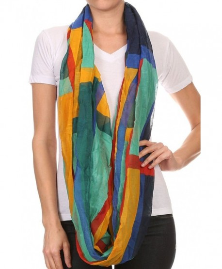 LL Womens Infinity Scarves Lightweight Oversized Sheer Multi Color Many Styles - Multicolor Colorblock - C212EY4GOX1