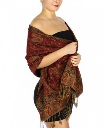 SERENITA Women's Flower Paisely Pashmina evening Shawl - Pale Red/Bronze 1 - CR12O3UB51N