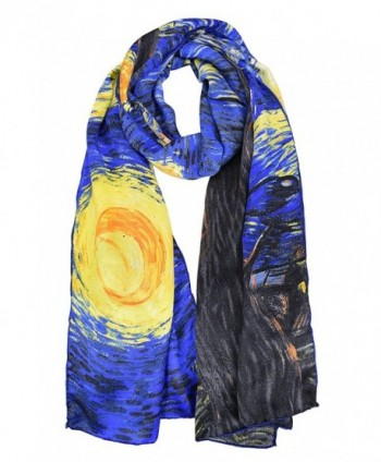 Elegna 100% Luxurious Silk Scarf Van Gogh Famous Painted Scarves - Starry night - C917Y0KHQ6Y