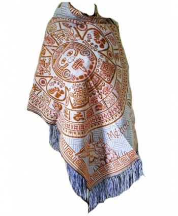 Typical Women's Mexican Rebozo Shawl - Brown/Blue - CF186WA4WKH