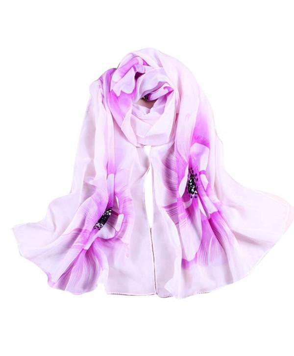 WensLTD Women Soft Thin Chiffon Silk Scarf Flower Printed Scarves Wrap Shawl - Purple - CN12IZY8GFP