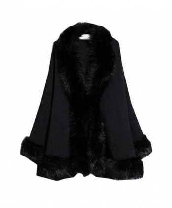 Kelaixiang Faux Fox Fur Shawls Jackets Plus Size Coats Wraps Winter Scarves - Black - C912N7XDXQ9
