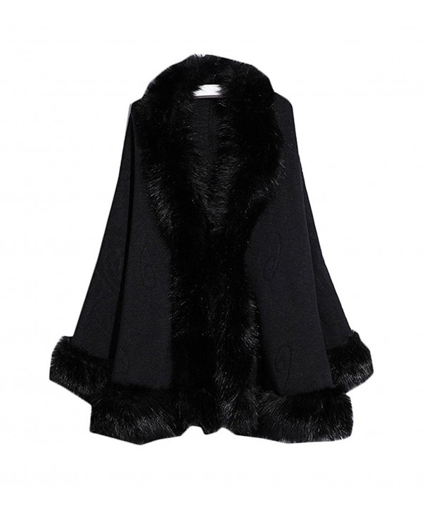 Kelaixiang Faux Fox Fur Shawls Jackets Plus Size Coats Wraps Winter Scarves - Black - C912N7XDXQ9
