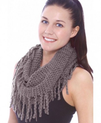 Simplicity Warm Infinity Scarf in Knitted Styles - Tassels_dk Grey - C911GLL898J
