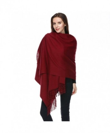 JULY SHEEP-100% Lambswool Blanket Scarf Shaws Wraps Extra large Super warm scaves - Burgundy - CI1833STSXS