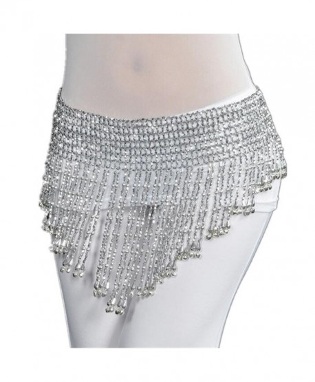 ZYZF Beaded Elastic Waist Rave Belly Dance Skirt Hip Scarf Costume - Silver - C712G7AVQYL