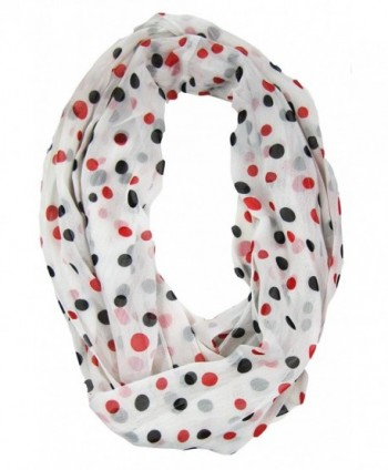 Amtal Women Red Black White Polka Dot Chiffon Soft Casual Infinity Scarf - CK11F7SLUDN