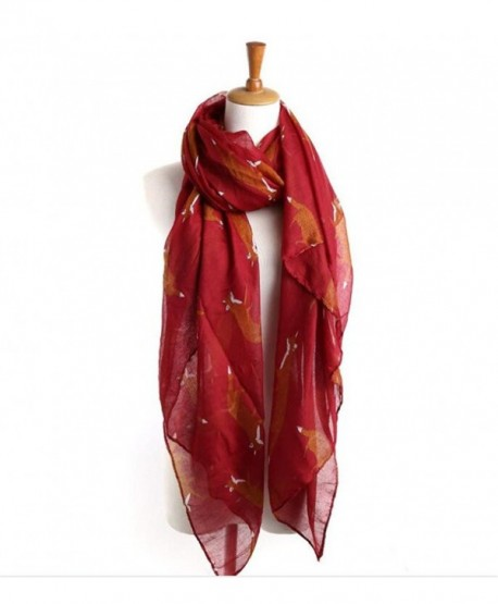 Lightweight Shawls Printed Chiffon Scarves - Wine Red - CC186MLN94D