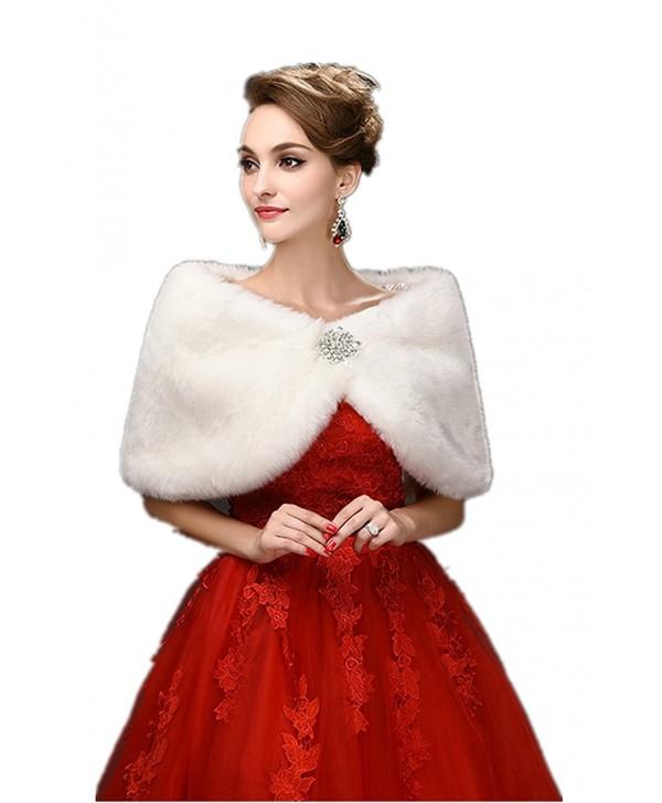 FOLWEP Women's Faux Fur Wrap Cape Stole Shawl Shrug Crystal Wedding/Party/Show - CD12LTA8TYT