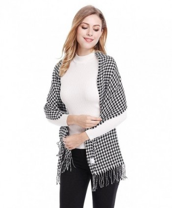 Womens Houndstooth Twisted Tassels Swallow in Fashion Scarves