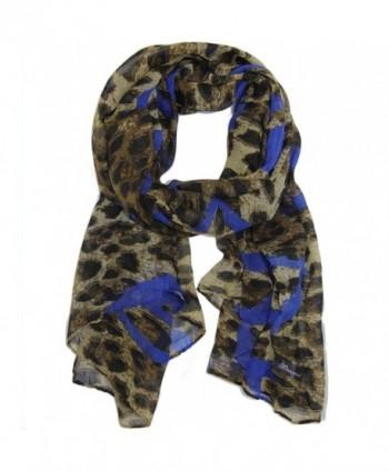 Bucasi Leopard Print Heart Graffiti Print Scarf - Blue - CR11FJSIDEZ