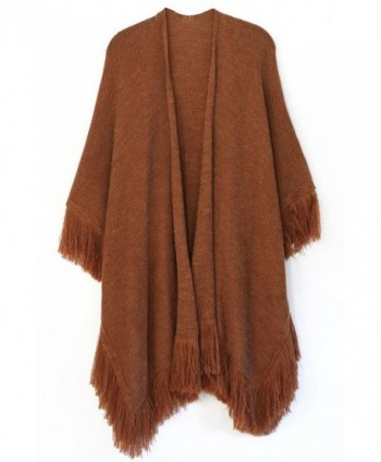 ScarvesMe Heathered Ruana with Soft Fringe - Rust - CC12LZB0B8F