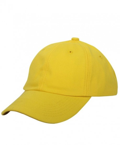 E-forest hair Cotton Baseball Cap Adjustable Plain Cap. Polo Style Low Profile (Unconstructed Hat) - Yellow - CJ182I3Y2Y5