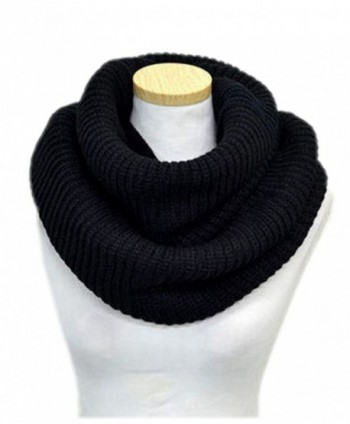 Spikerking Unisex Soft Thick Knitted Winter Warm Infinity Scarf - Black - C2125OGVYKV