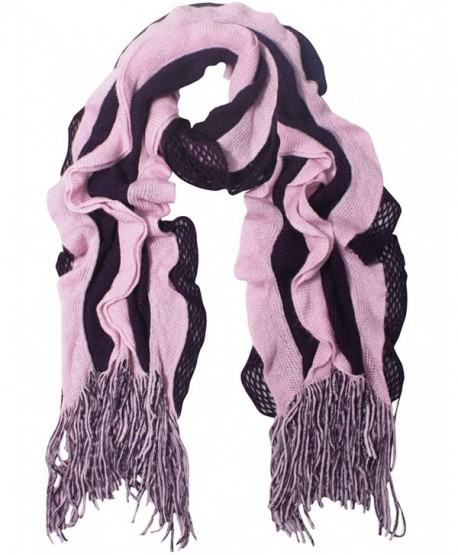 Acrylic Fashion Wavy Ruffle Knitted Tassel Ends Long Scarf Available - Fba - Purple - CI113ZMJSKP