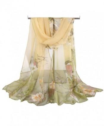 DEESEE(TM) Women Soft Thin Chiffon Silk Scarf Animal Bird printed Scarves Wrap Shawl - Green - CI12N23GYCI