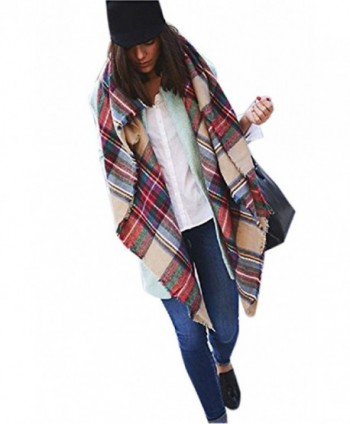 Moxeay Blanket Oversized Checked Pashmina in Wraps & Pashminas