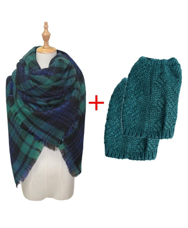 Womens Winter Outfits Set Dark green - Dark-green Plaid Scarf & Dark-green Leg Warmers Set - CA188Q4E74S
