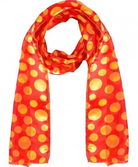 Polka-dot scarf - Chiffon scarf - Lightweight scarf - Red and Yellow - CC12JVD4YAT
