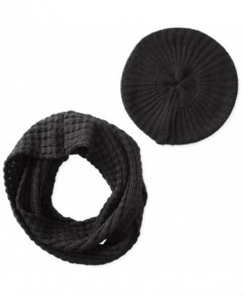 San Diego Hat Company Women's Waffle Knit Scarf and Beret Set - Black - C911KYO2G3D