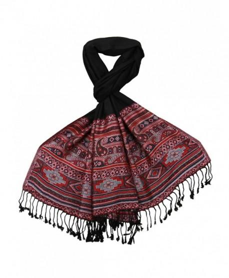 Lovarzi Women's Navajo Scarf - Ladies Winter Pashmina Long Scarves - Black - C01278OCKFF