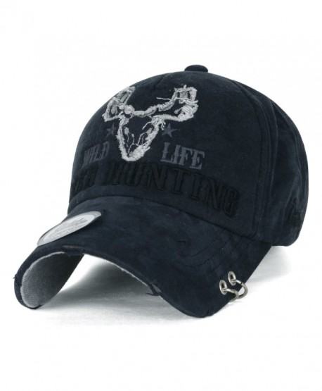ililily WILD LIFE DEER HUNTING Embroidery Metal Piercing Ring Cotton Baseball Cap Trucker Hat - Prussian Blue - CL17Z55D3Z3