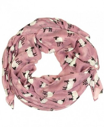 Sheep Print Design Scarves for Women Lightweight Large Size Scarf (Dusty rose) - CT11NT69FRN