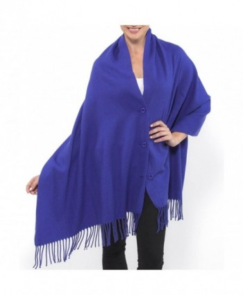 Alpine Swiss Women's Pashmina Button Up Shawl Cape Poncho Blanket Scarf Wrap - Blue - CN1284AERYN