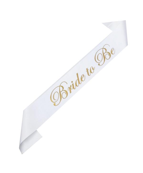 DreamLily Bride & Mummy To Be White Satin Sash Bachelorette Party Baby Shower Accessories XN03 - White Bride - CG183TG2745