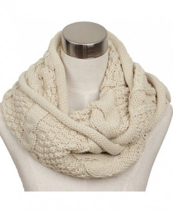 Ls Lady Women's Warm Infinity Circle Scarf Ribbed Knit Scarf Cowl Wrap - Off White - CL127PVG8WH