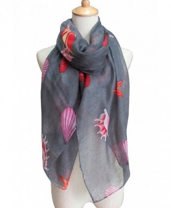 Women's Fashion Style Shawl Sea Shell Printed Spring Summer Scarves Girls Gift - Gray - CL182SXYCU6
