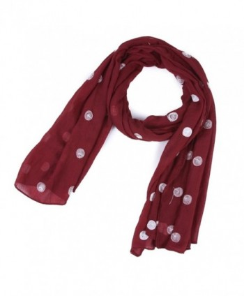 Damara Womens Light Dots Pashmina Scarves Wraps - Dark Red - CU11PEMZL3H