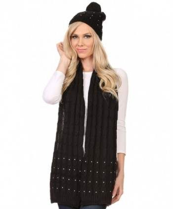Sakkas Kae Jewel Studded Cable Knit Beanie Hat And Scarf Set - Black - C71276OYX7P