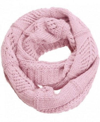 NEOSAN Warm Knit Crochet Soft Infinity Circle Loop Scarf For Women Solid Color - Crochet Light Pink - C7185KYITY3