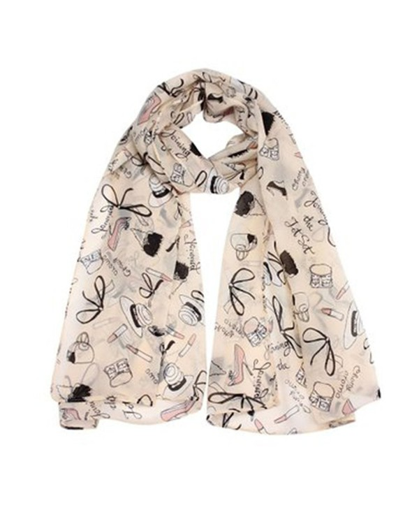 Shineweb Lightweight Scarves Fashion Lipstick Letter Print Shawl Wrap for Women - Khaki - CG12N1RCRZH