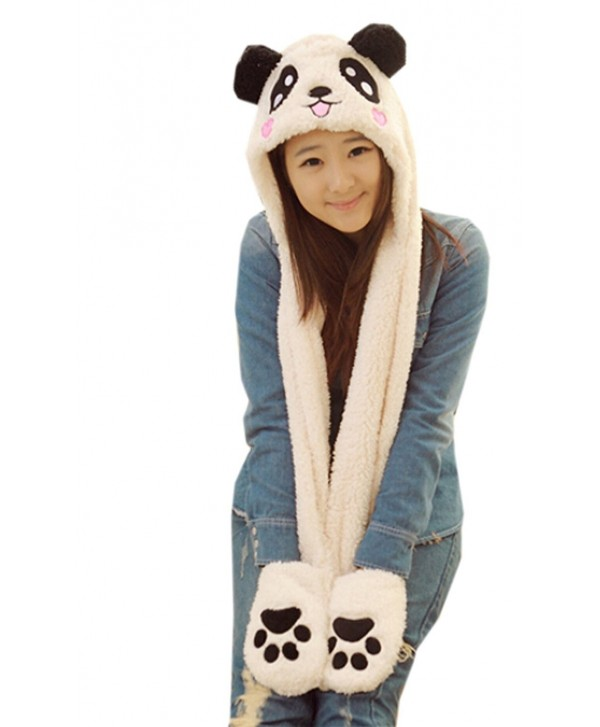 Bestal Women's Panda Fleece Hooded Scarf Gloves Pocket Earflap Hat Snood Wraps - 2 - C411S9V9NKH