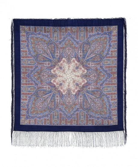 Pavlovo Posad Shawl Pashmina Scarf Wrap 100 % Wool Blue 35x35'' - CH183IYO3H0