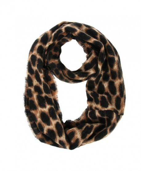 Women's Leopard Print Infinity Scarf - Warm Lightweight Acrylic Cheetah Loop Circle Scarves for Ladies and Girls - CF18629MS4Q