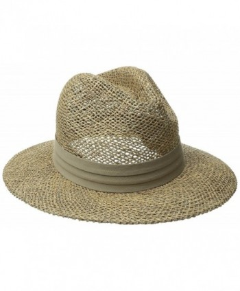 San Diego Hat Co. Men's Seagrass Panama Fedora Hat with Cloth Band - Olive - CT11JMYE4ZT